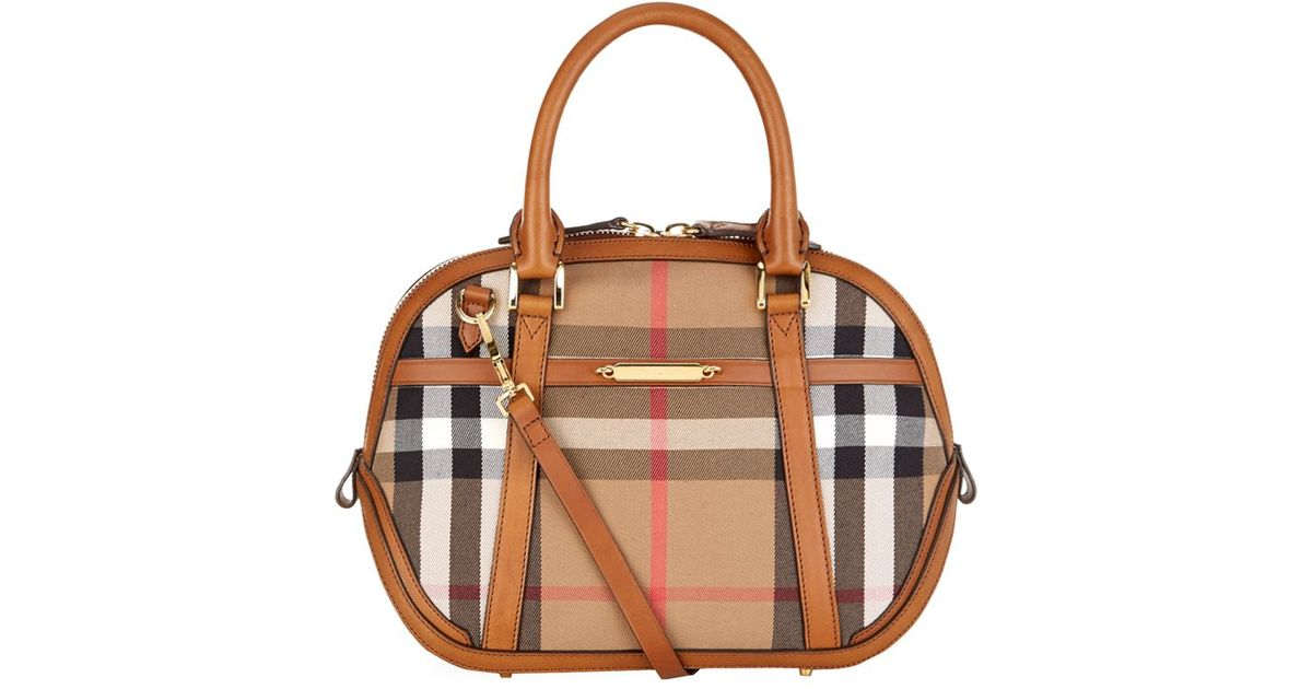 a70291f558f Burberry Small Orchard House Check Bowling Bag in Brown - Lyst