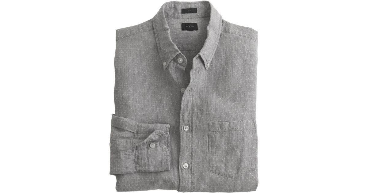 Slim irish linen shirt in dot in gray for men lyst for Irish linen dress shirts