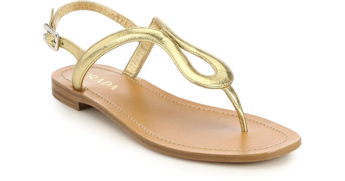 11bb81939 Lyst - Prada Metallic Leather Thong Sandals in Metallic