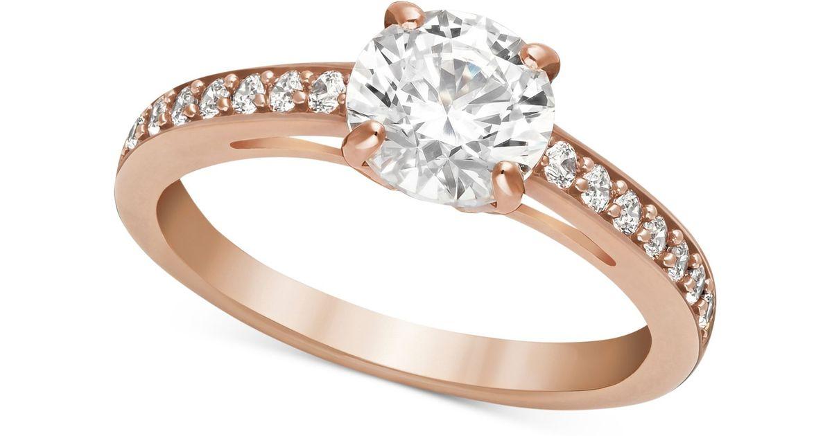 lyst swarovski rose gold tone crystal ring in metallic. Black Bedroom Furniture Sets. Home Design Ideas
