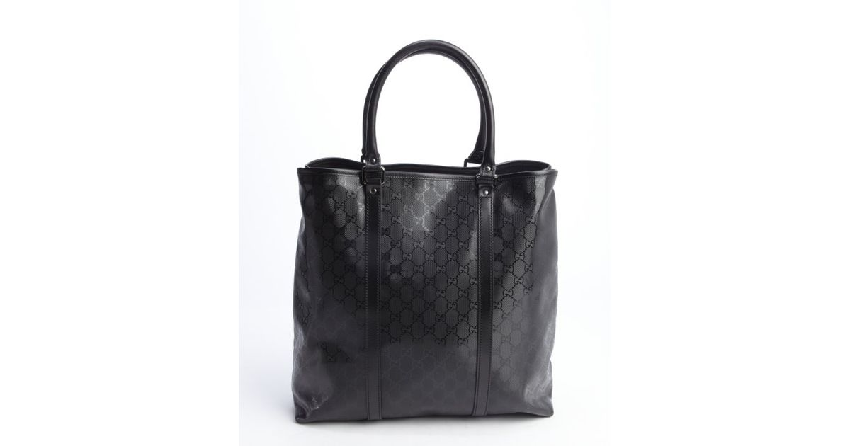 Gucci Black Coated Canvas Tall Tote Bag in Black | Lyst