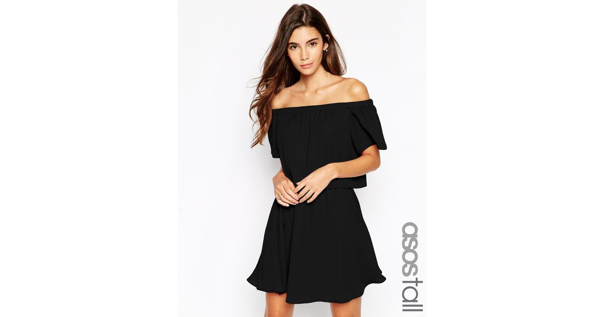 e3233ee4edf ASOS Gypsy Off Shoulder Dress With Short Sleeves in Black - Lyst