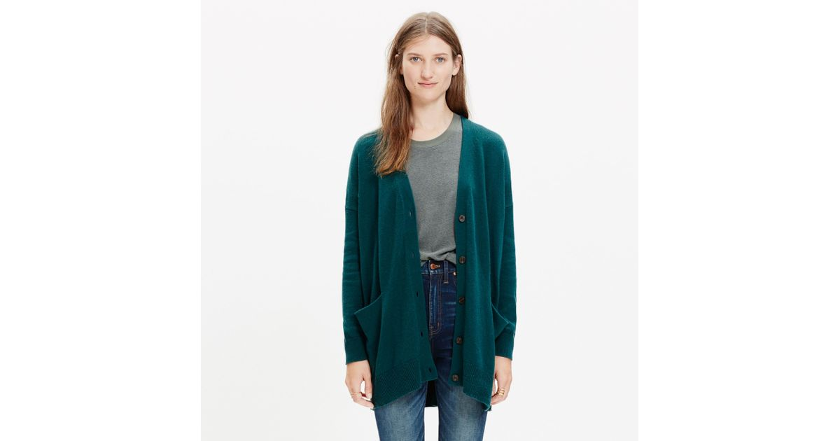 Madewell Long Cardigan Sweater in Green | Lyst