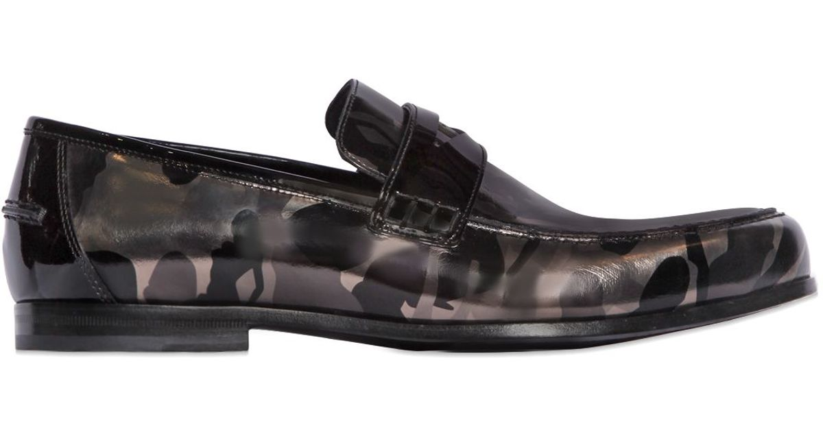 Jimmy choo camo printed leather penny loafers in metallic for Jimmy choo mens shirts
