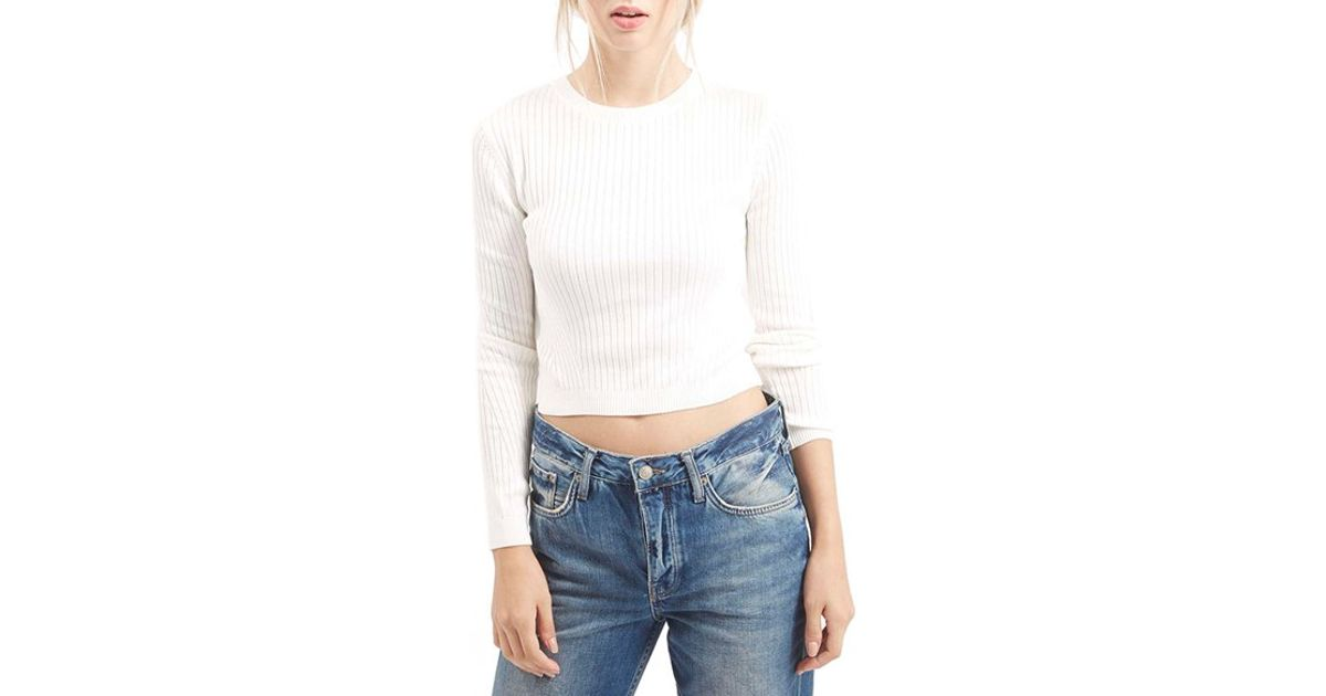 eac9dcab2eb9f8 TOPSHOP Ribbed Long Sleeve Top in White - Lyst