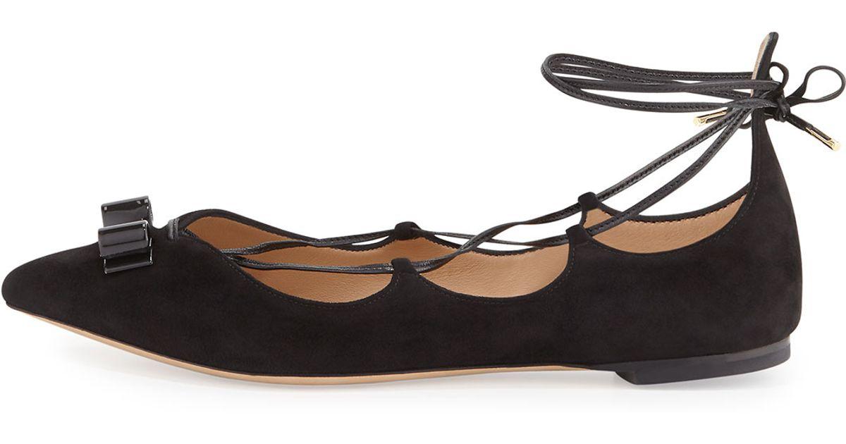 f4fee3e61242 Lyst - Ferragamo Claire Suede Lace-up Flat in Black