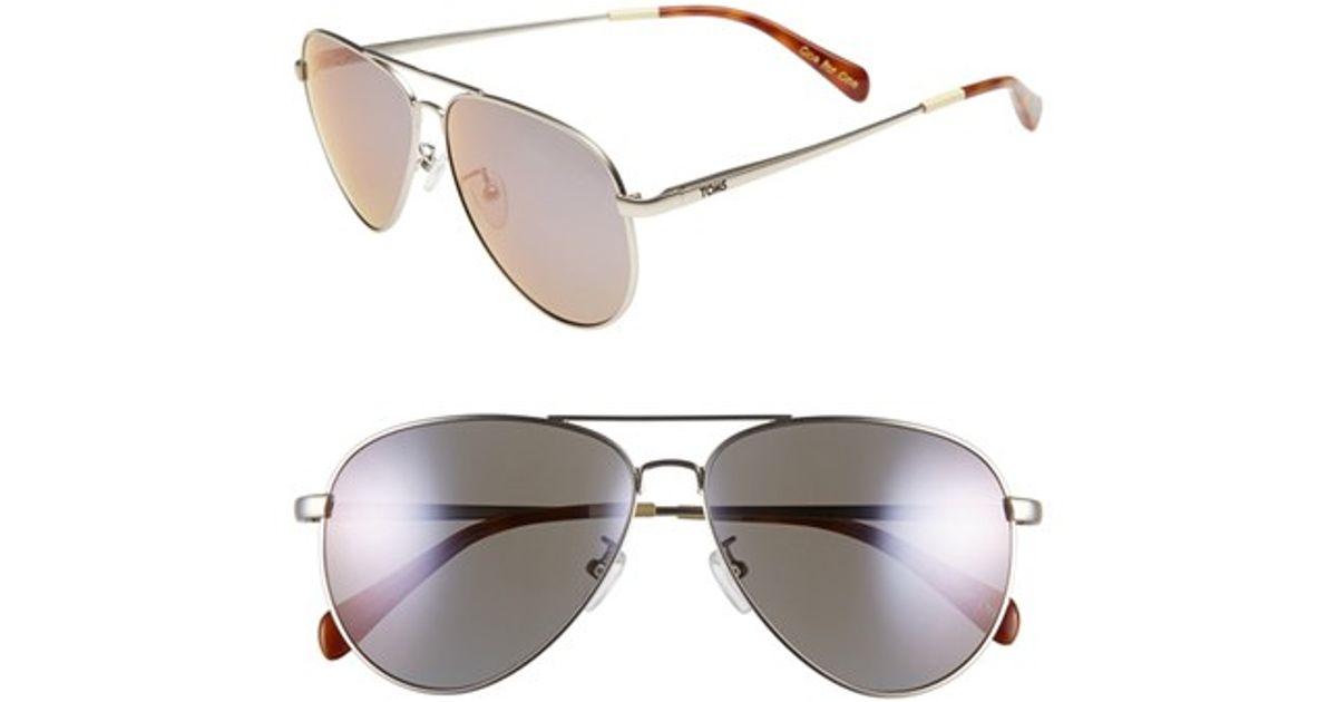 f000c0dc994f Lyst - TOMS 'maverick' 60mm Aviator Sunglasses - Satin Silver/ Tortoise/  Violet in Metallic