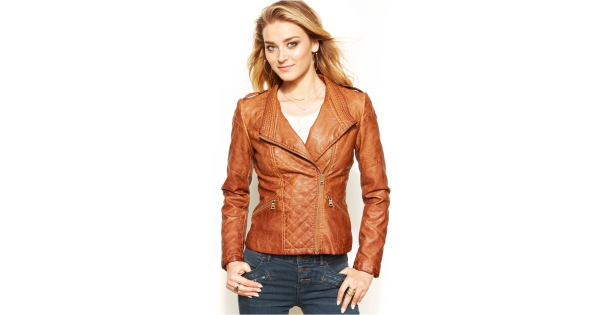 Guess Quilted Faux-Leather Moto Jacket in Brown | Lyst