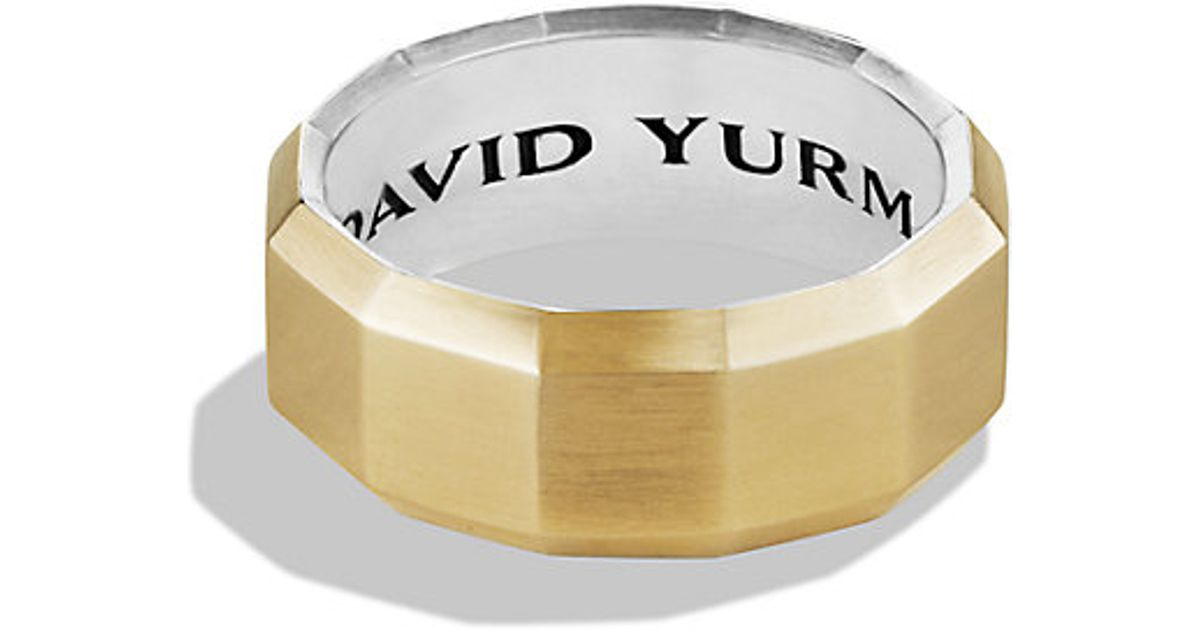743ce1e34c0059 David Yurman Faceted Metal Band Ring With 18k Gold in Metallic for Men -  Lyst
