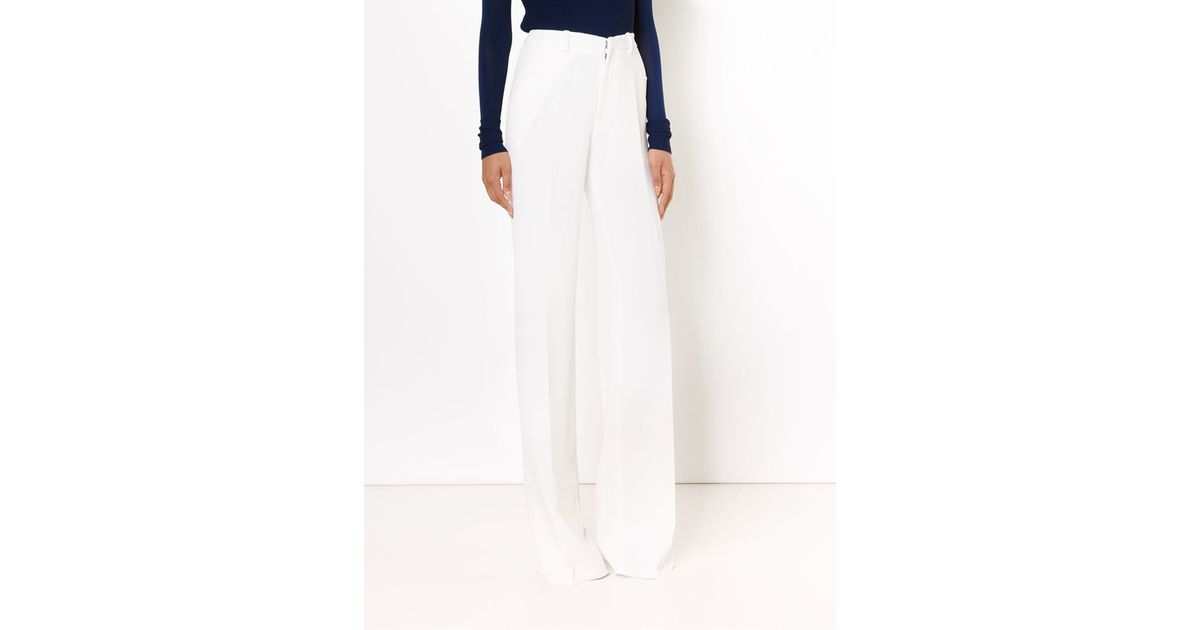Roland mouret High Waisted Wide Leg Trousers in White | Lyst
