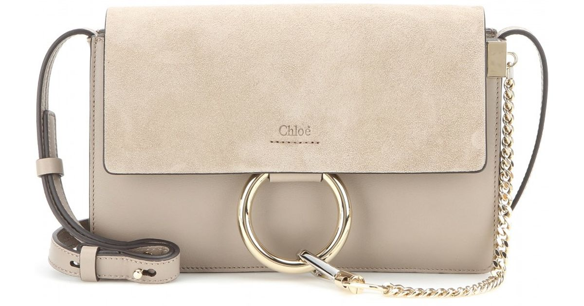 Lyst - Chloé Faye Small Leather and Suede Shoulder Bag in Gray d1e0773f8944