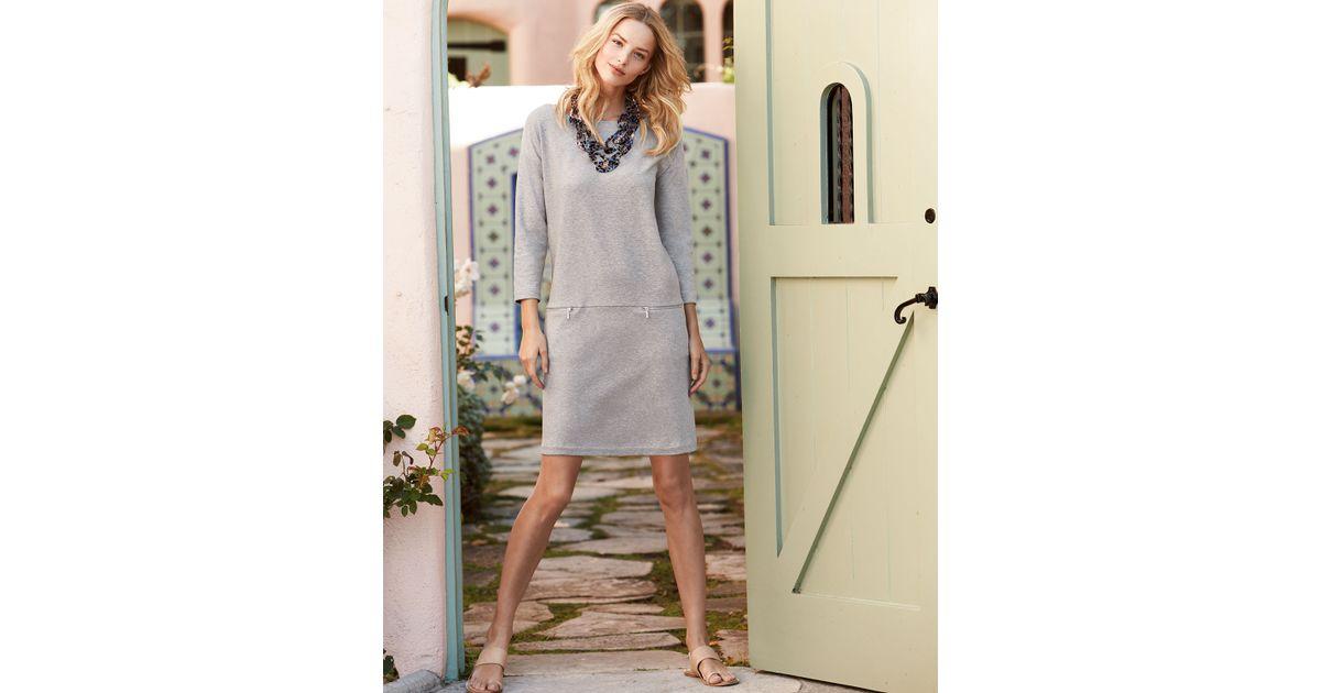ea5a18624 Lyst - Joan Vass Knit Zip-pocket Shift Dress in Gray