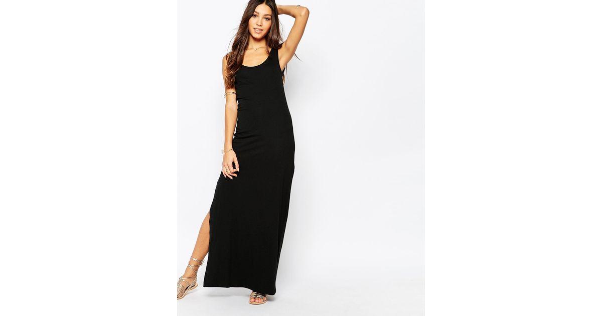 Lyst Vila Jersey Maxi Dress With Side Split In Black