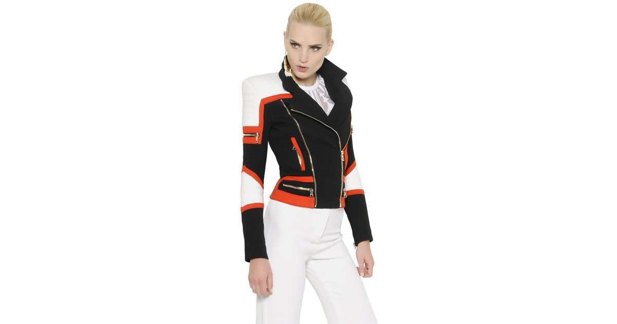 dd73123af0 Balmain Quilted Heavy Cotton Jersey Moto Jacket in Black - Lyst