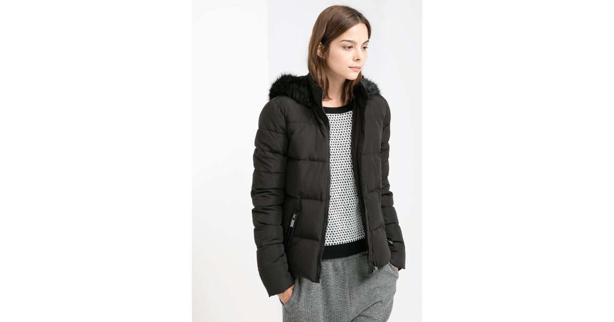 Mango Feather Down Hooded Coat in Black | Lyst