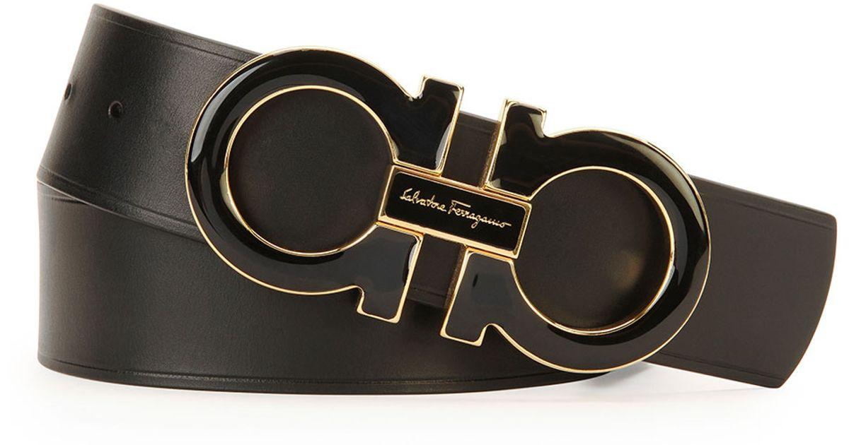 Ferragamo Men S Double Gancini Buckle Belt In Black For