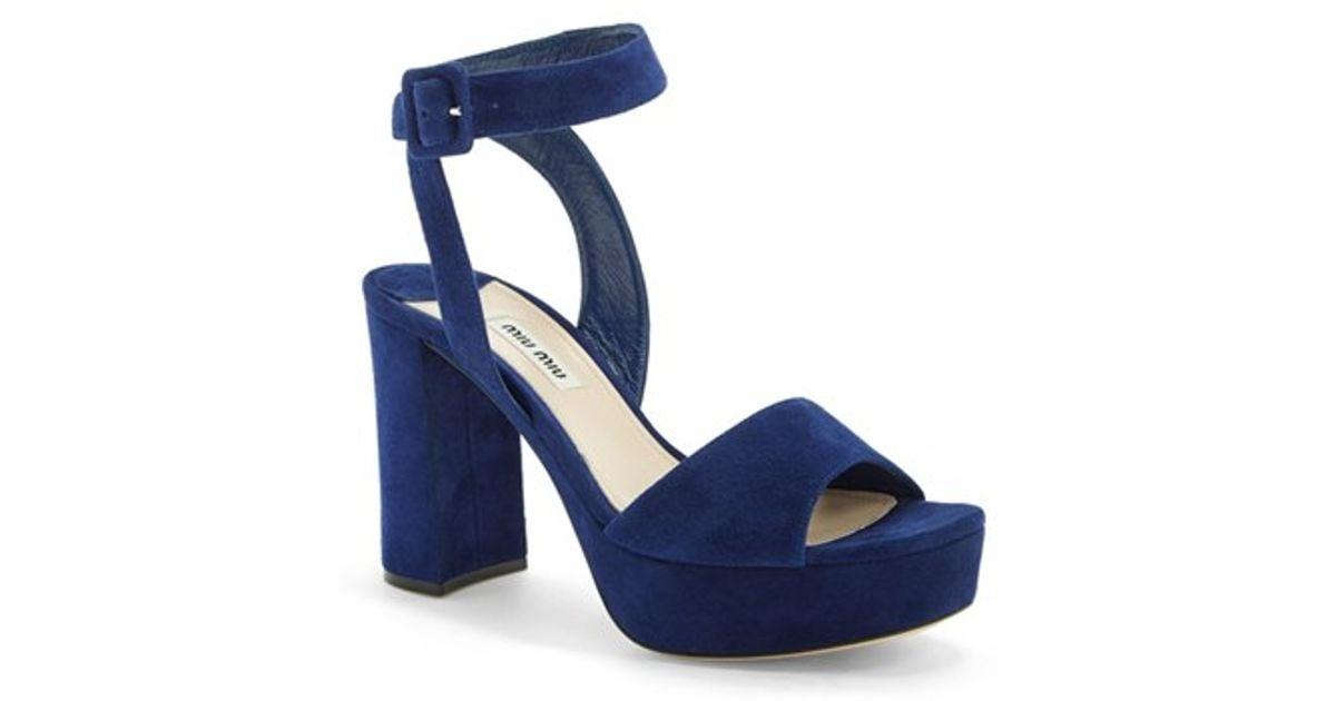 9034e709890 Lyst - Miu Miu Block Heel Platform Sandal in Blue