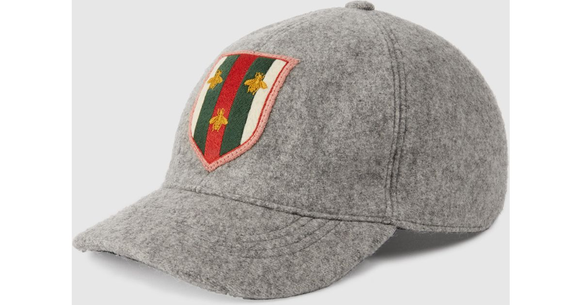 Gucci Felt Hat With Web Crest And Bees in Gray for Men - Lyst 026413cebda