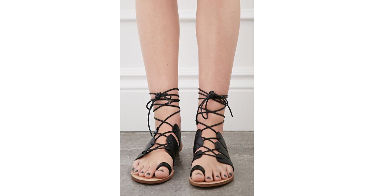 7698fece9946 Lyst - Forever 21 Lace-up Gladiator Sandals in Black