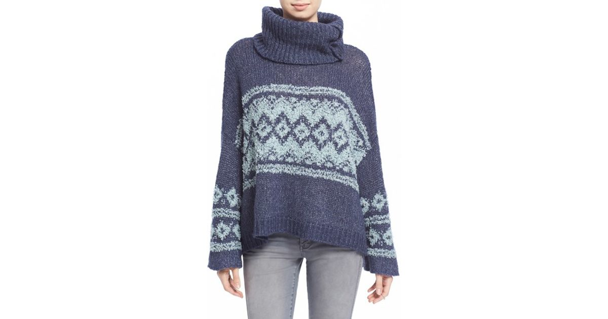 7ab2a07e5 Lyst - Free People Fair Isle Split Neck Sweater in Blue