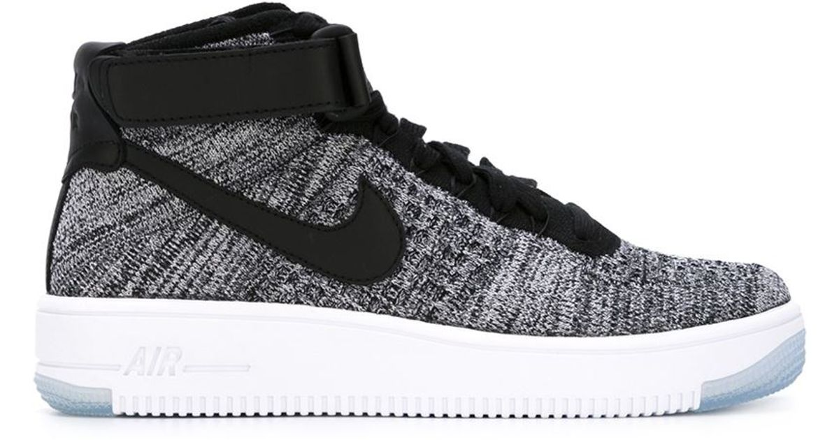 Nike Air Force 1 Ultra Flyknit Cotton Sneakers In Black