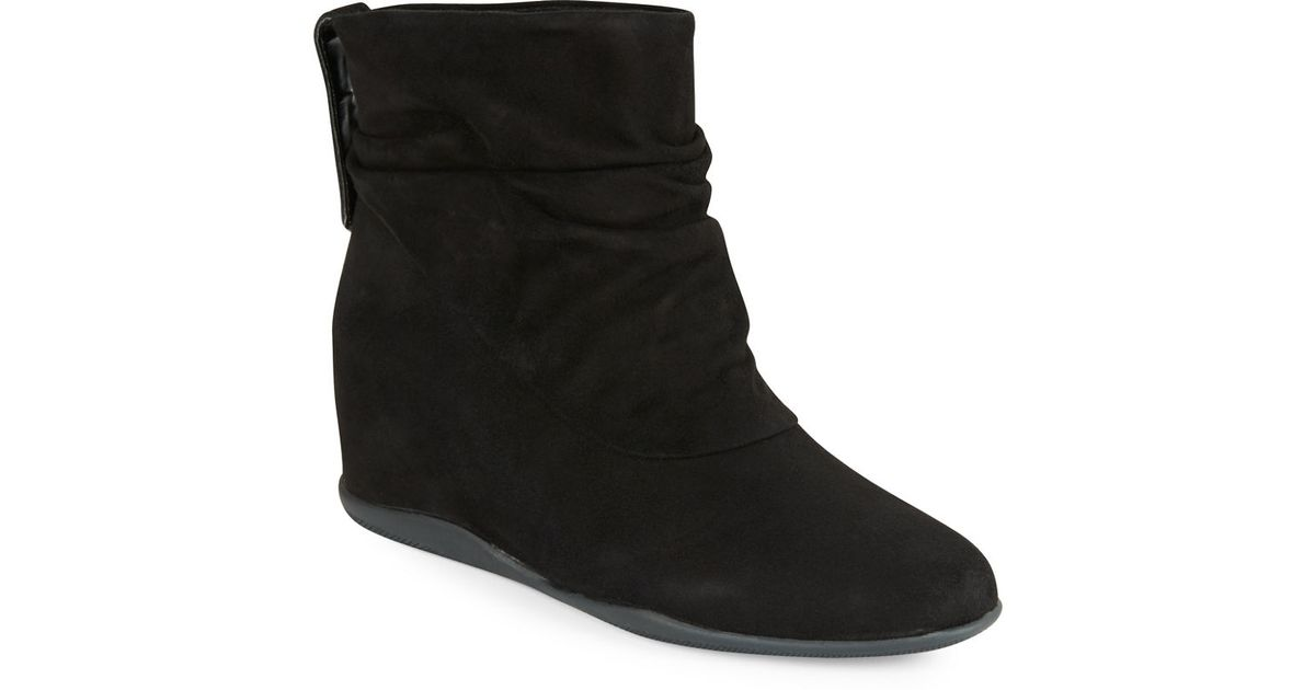 me suede wedge ankle boots in black lyst