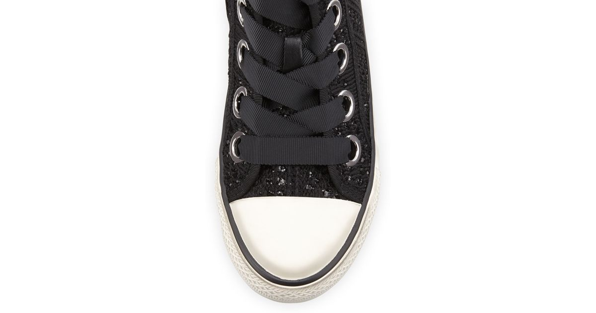 ash venus sequined high top sneaker in white lyst. Black Bedroom Furniture Sets. Home Design Ideas
