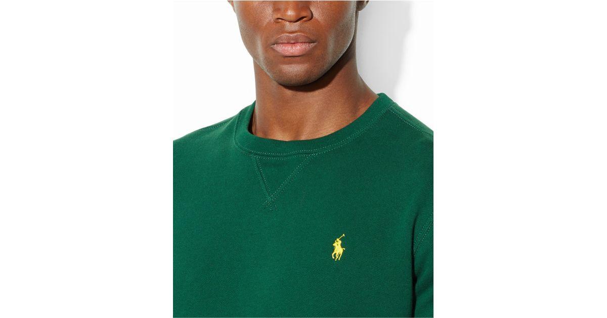 04c9e10d4181 Lyst - Polo Ralph Lauren Classic Fleece Crew-Neck Sweater in Green for Men