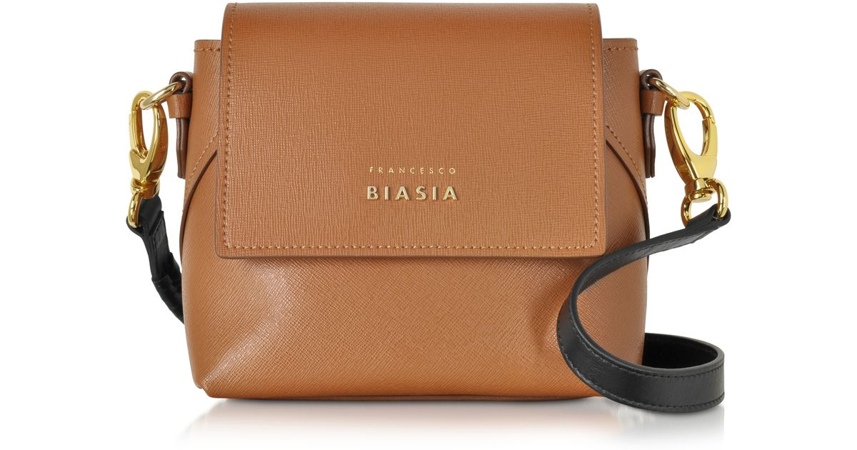 b3c3f362fc94 Lyst - Francesco Biasia Lucille Saffiano Leather Two-tone Crossbody Bag in  Brown