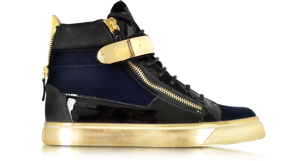 4f7e33b87f928 Giuseppe Zanotti Coby Navy Velvet And Patent Leather High-top Sneaker in  Black for Men - Lyst