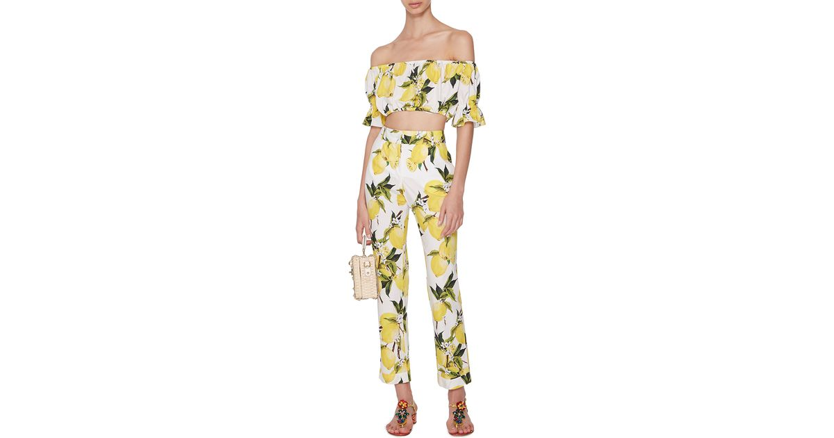 Lyst - Dolce   Gabbana Cotton Ruffle Sleeved Cropped Top With Lemon Print 37bf0ef61bf00