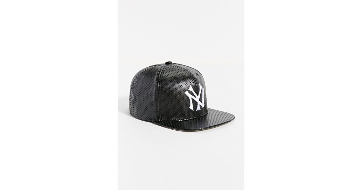 f9d5783a2d8 ... discount code for lyst american needle faux leather n y yankees hat in  black for men 2d36c