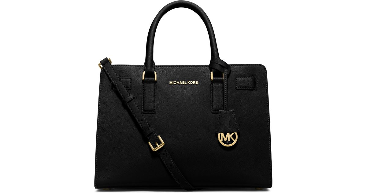 f8f17e9717a3 MICHAEL Michael Kors Dillon Large Saffiano Leather Satchel in Black - Lyst