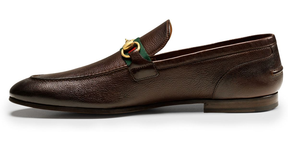 9d9697a7885 Lyst - Gucci Elanor Leather Horsebit Loafer in Brown for Men