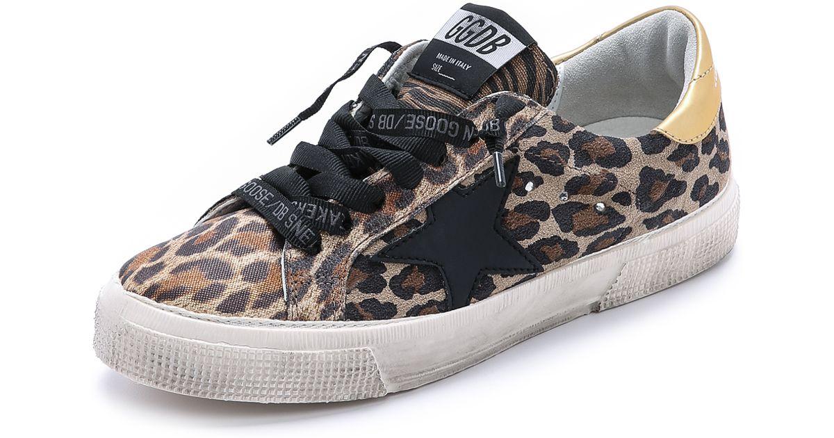 Golden Goose Panelled leopard print low top sneakers