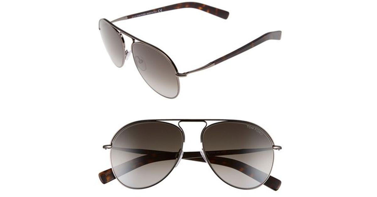 39e6196db9a Lyst - Tom Ford  cody  56mm Aviator Sunglasses - Shiny Gumetal  Gradient  Smoke in Gray for Men