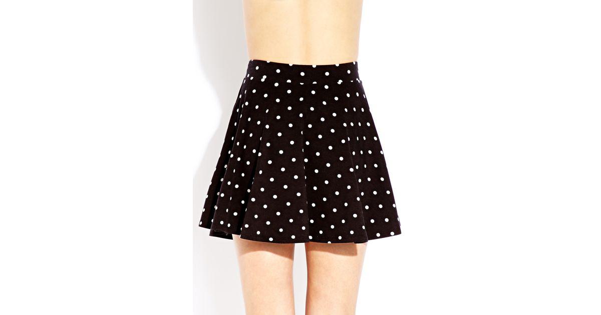 Forever 21 Polka Dot Skater Skirt in Black - Lyst 708f686c5