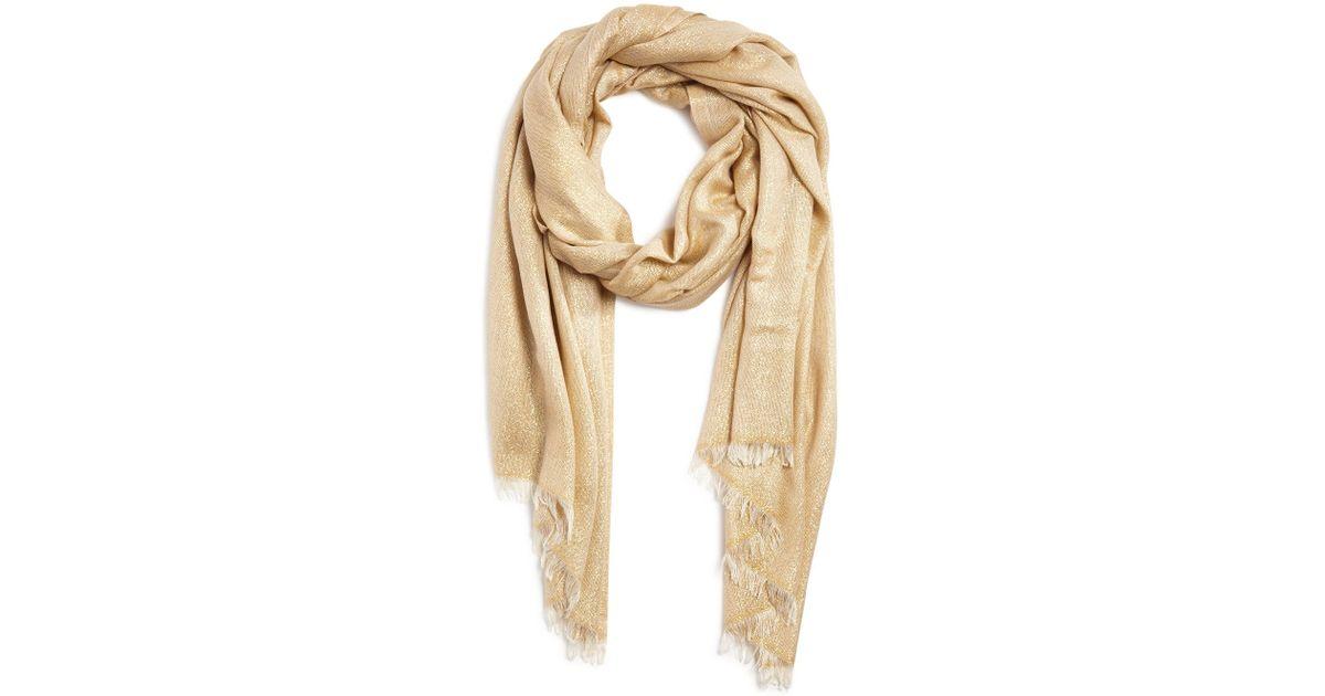 aqua solid metallic scarf in lyst