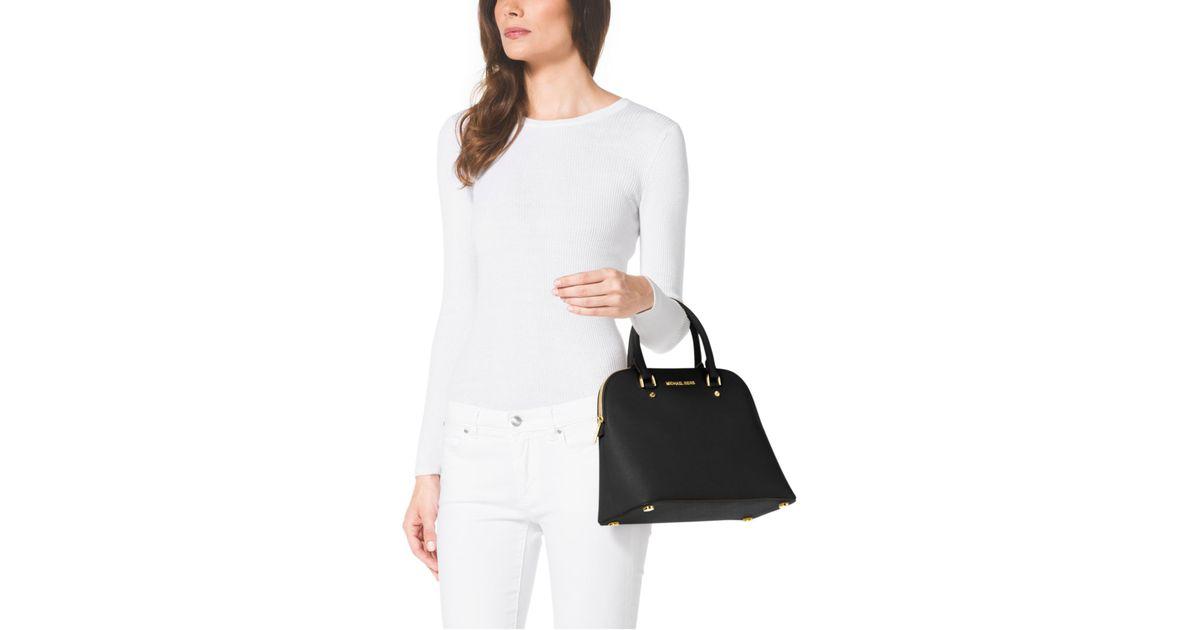 de3b7c38cad3 ... promo code lyst michael kors cindy large saffiano leather satchel in  black eba80 4da14