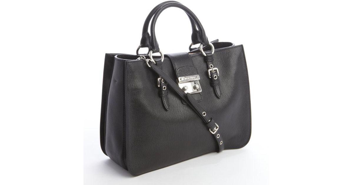 2053cc81e79 Lyst - Miu Miu Black Leather Madras Top Handle Tote in Black