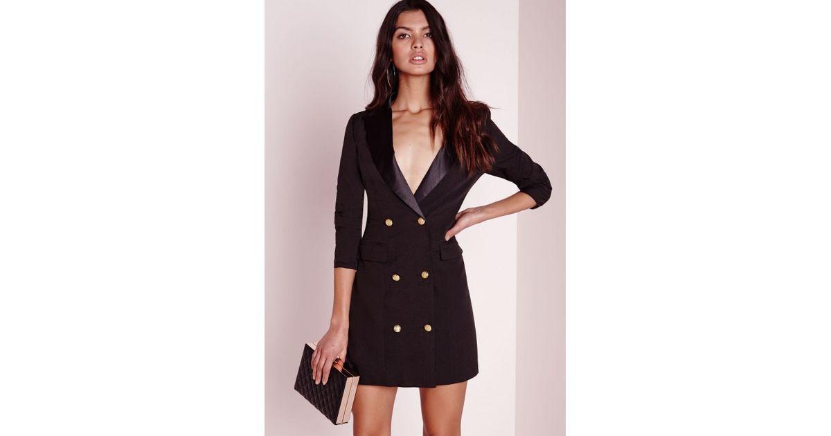 Lyst - Missguided Tall Long Sleeve Tuxedo Dress Black in Black
