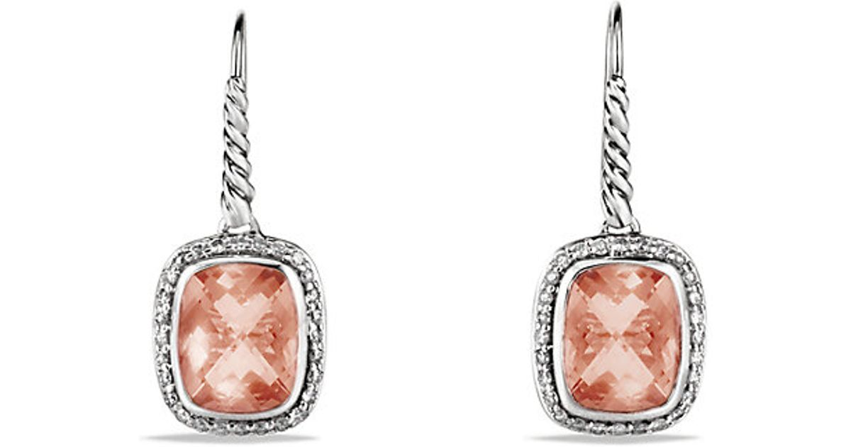 Lyst David Yurman Lesse Drop Earrings With Morganite And Diamonds In Metallic