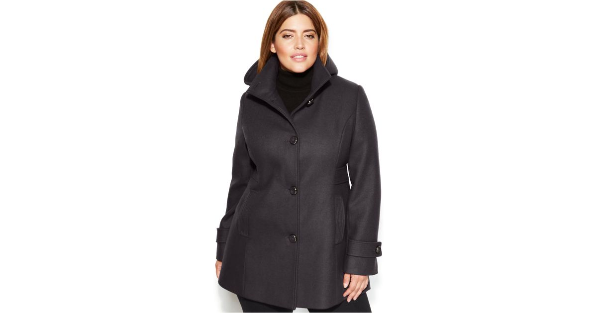 c5c8634b9e4 Lyst - Kenneth Cole Reaction Plus Size Single-Breasted Hooded Wool-Blend  Coat in Gray
