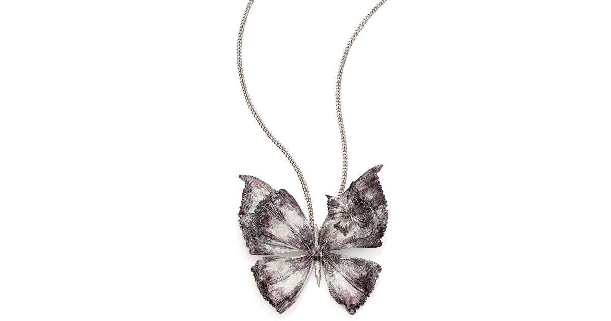 bb647eace Alexander McQueen Butterfly Pendant Necklace in Metallic - Lyst