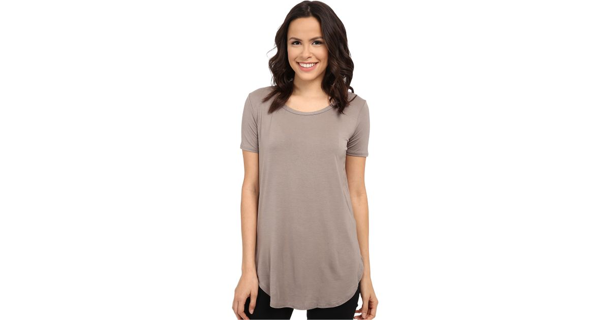 badb135636e41 Lyst - Culture Phit Caydee Short Sleeve Modal Top in Natural