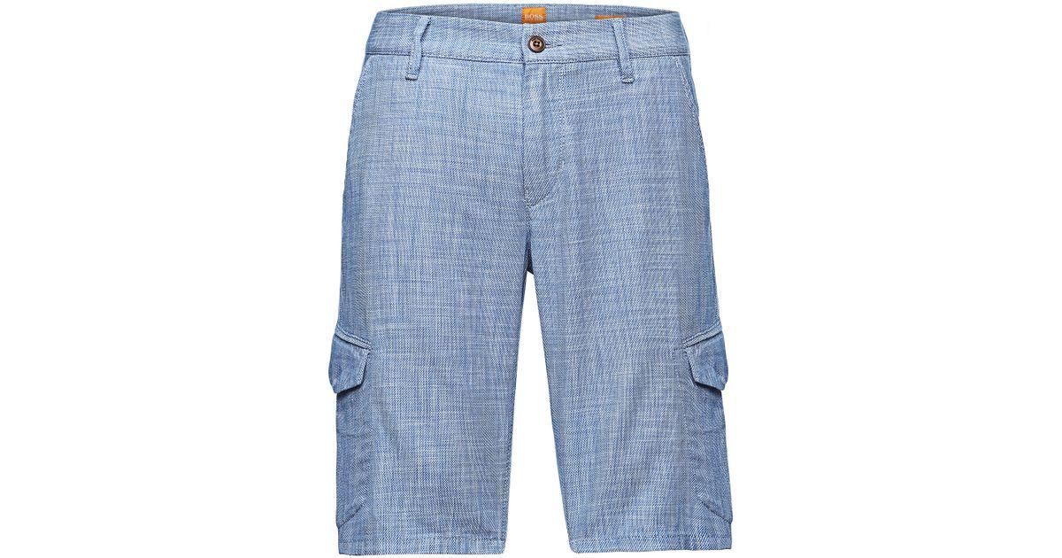 ce2fd6ade BOSS Orange 'schwinn-shorts-w' | Regular Fit, Cotton Cargo Shorts in Blue  for Men - Lyst