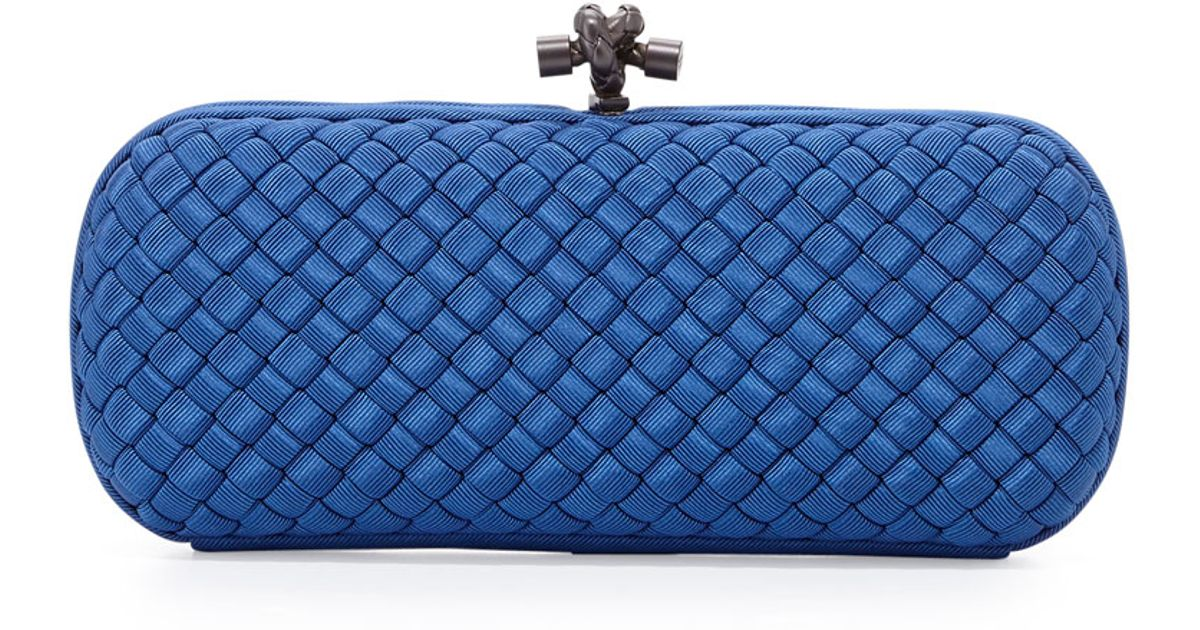 0a2c2181aecc Lyst - Bottega Veneta Woven Faille Large Knot Clutch Bag in Blue