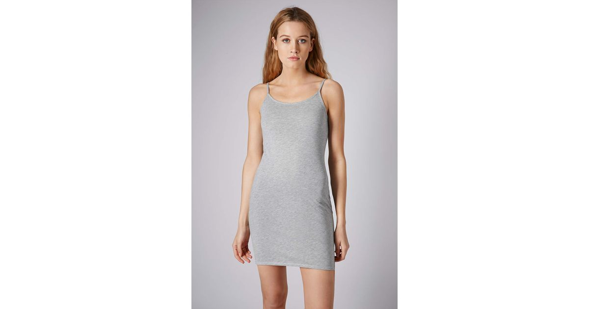6339542d6c TOPSHOP Petite Strappy Cami Tunic Dress in Gray - Lyst