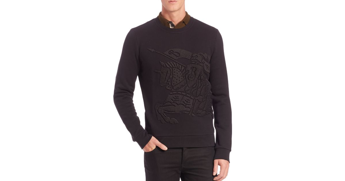 bd504e5d2baa9 Lyst - Burberry Lyle Embroidered Knight Sweatshirt in Black for Men