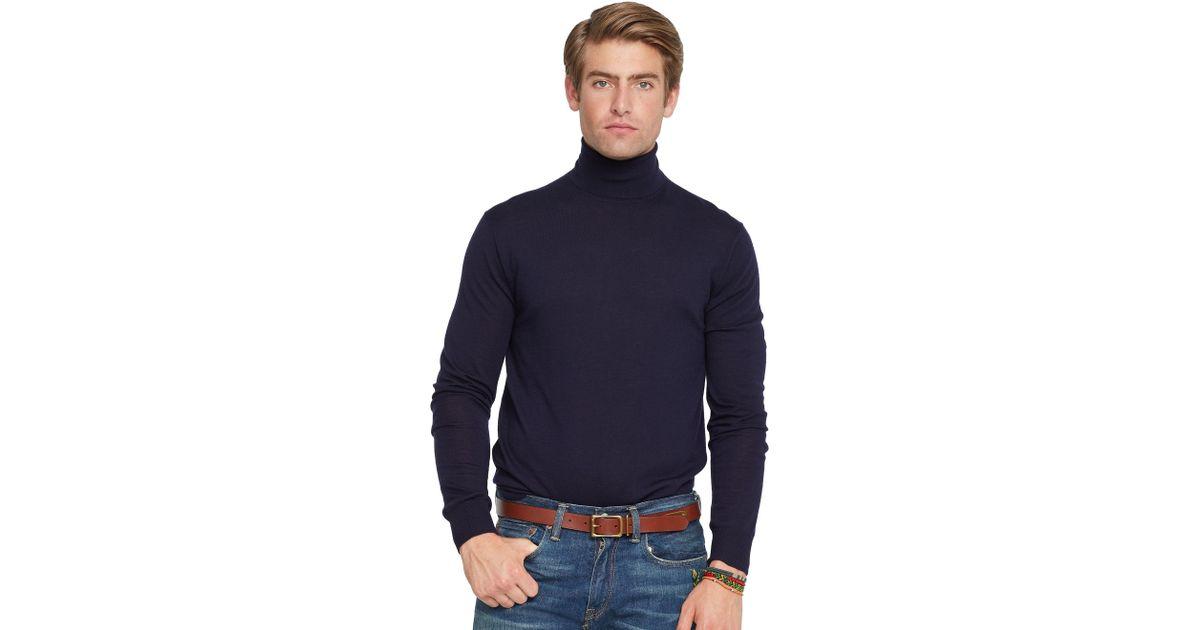 b35ad5d75 Polo Ralph Lauren Lightweight Wool Turtleneck in Blue for Men - Lyst